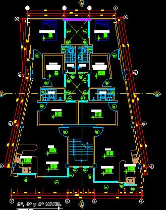 پلان مسکونی چهار طبقه مدل 15