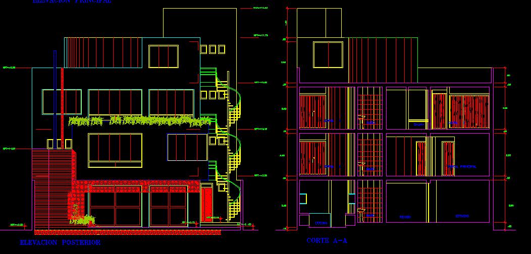 پلان مسکونی چهار طبقه مدل بیست و شش