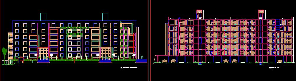 پلان مسکونی هفت طبقه مدل سی و چهار