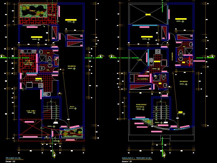 پلان مسکونی سه طبقه مدل سی و هشت