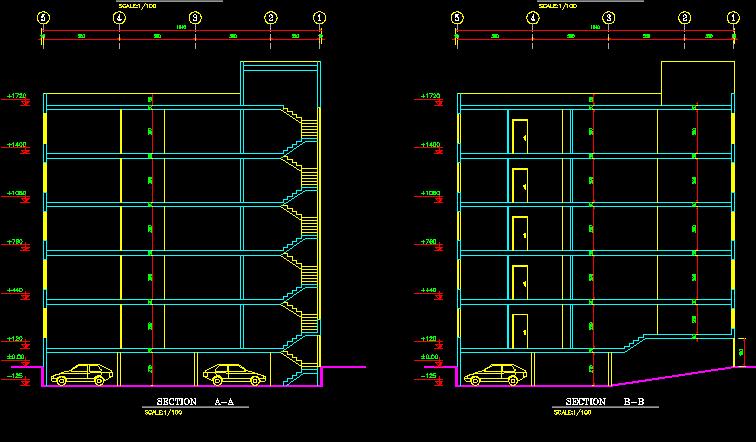 پلان مسکونی شش طبقه
