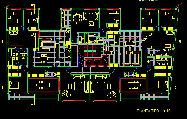 پلان مسکونی سیزده طبقه مدل 19