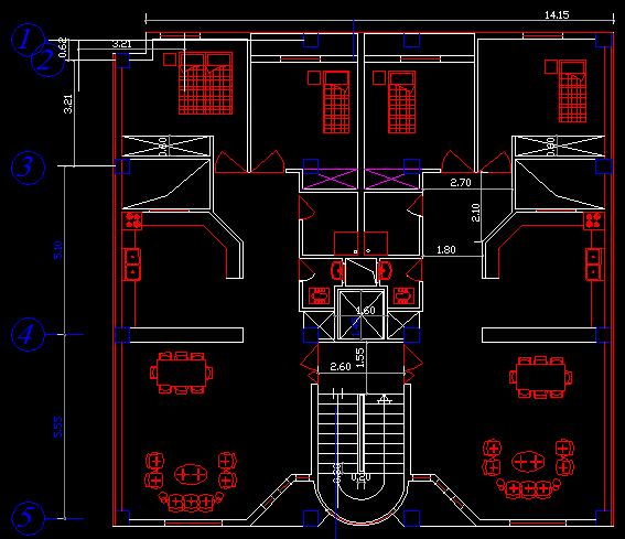 پلان مسکونی شش طبقه مدل 2