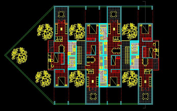 پلان مسکونی چهار طبقه مدل بیست و نه