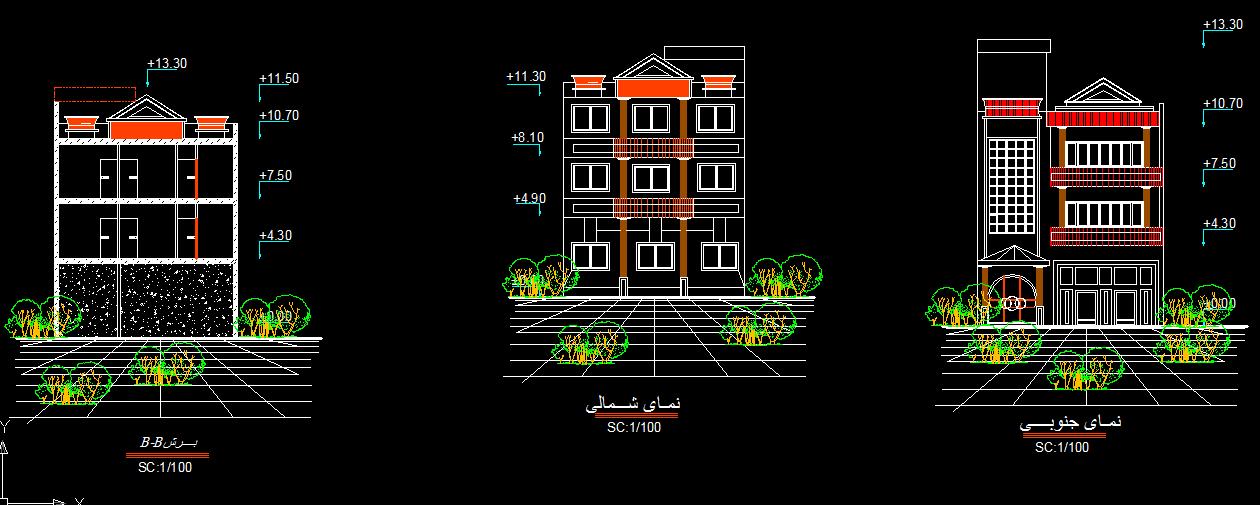 پلان مسکونی سه طبقه مدل 5