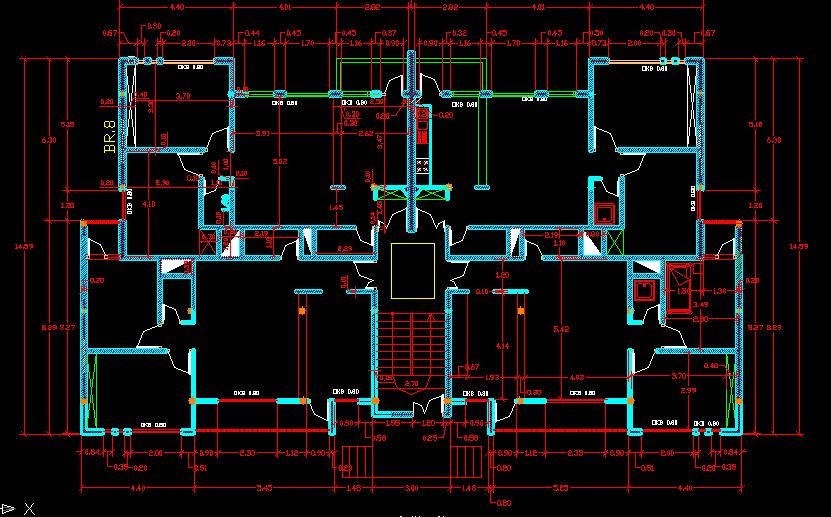 پلان مسکونی چهار طبقه مدل هشت